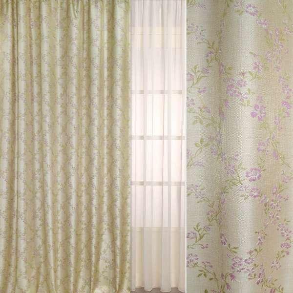 рогожка-фукра св/бежевая с люрексом с ромбами из розов. цветов  ш.280