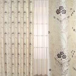 Рогожка-фукра бежева світла з люрексом з коричневими квітами і завитками ш.280