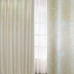 Рогожка-фукра бежева світла з люрексом з блідо-блакитними квітами і завитками ш.280