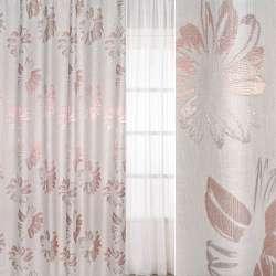 рогожка молочно-рожева з великими квітами, ш.280