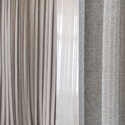 Рогожка портьєрна срібляста в коричнево-бежеві смужки ш.280