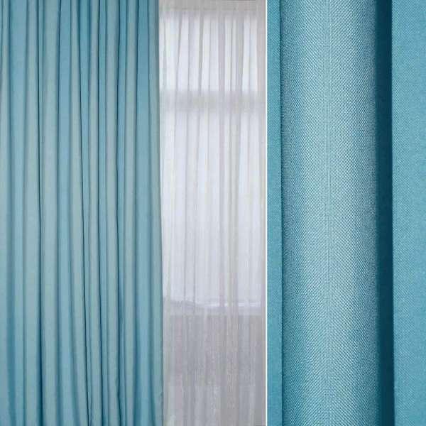 Рогожка мелкая блэкаут (софт изнанка) голубая ш.280