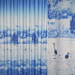 Атлас блэкаут голубой фотопринт зима, журавли ш.270