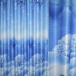 """Атлас блэкаут голубой фотопринт голубой """"Зима, церковь"""" ш.280"""