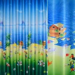 Атлас блэкаут зелено-голубой фотопринт персонажи Дисней ш.280