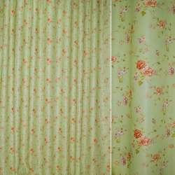 Блэкаут бледно-салатовый с разноцветными веточками цветов ш.275