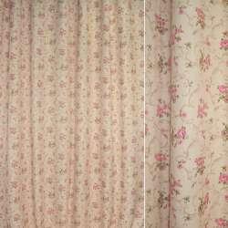 Блэкаут персиковый с розово-бежевыми цветами и завитками ш.275