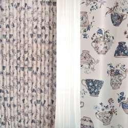 Блэкаут бежевый светлый с бежево-синими чашками и цветами ш.280