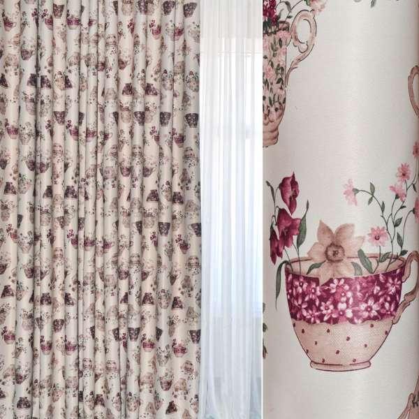 Блэкаут бежевый светлый с бежево-вишневыми чашками и цветами ш.280