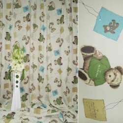 Блэкаут бежевый светлый с мишками в зеленой кофточке ш.280