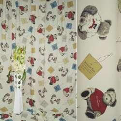 Блэкаут бежевый светлый с мишками в красной кофточке ш.280
