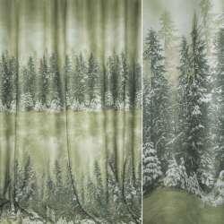 Блэкаут бледно-зеленый с 2-м купоном зимний лес ш.280