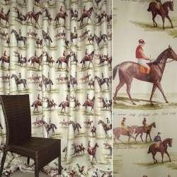 Блэкаут песочный светлый с коричневыми лошадьми ш.280