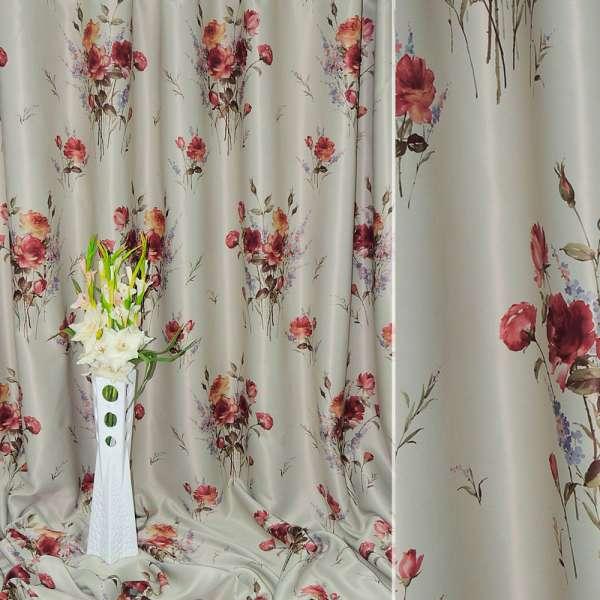 блекаут світло-сірий з червоними трояндами ш.270