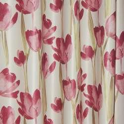 Блэкаут серый светлый с красными тюльпанами ш.270
