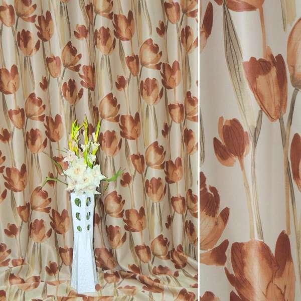 Блэкаут песочный со светло-коричневыми тюльпанами ш.270