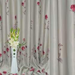 Блэкаут серый светлый с красными цветами ш.270