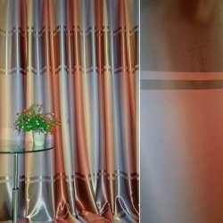 """Блэкаут бежево-красный """"радуга"""" с широкой атласной полосой по центру ш.280"""