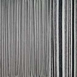 Шенілл портьєрний молочний в сірі, чорні смужки з люрексом ш.280