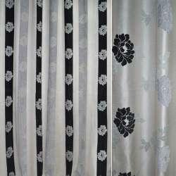 Шенілл портьєрний молочний в сірі, чорні смужки з квітами ш.280