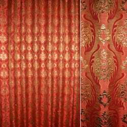 Шенилл жаккардовый красный с золотым бутоном, ш.280