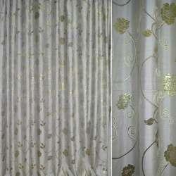 Шенилл жаккардовый с метанию серый с золот.цветами и веточ, ш.280