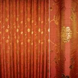 Шенилл жаккардовый красный с зол.цветами и веточками ш.280