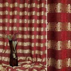 Шенілл жакардовий з метаниткою бордово-бежевий, смужки в квадрати, ш.280