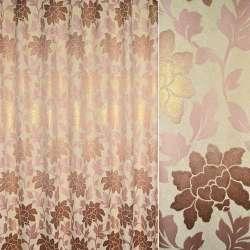 Шенілл жакардовий з метаниткою кремовий з рожево-золотистими квітами і листям ш.280