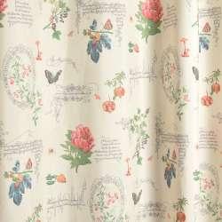 Коттон портьерный молочный, цветы, бабочки, ягоды, вензеля, ш.280
