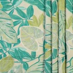 Коттон портьєрний кремовий в зелені і салатові листя, ш.280