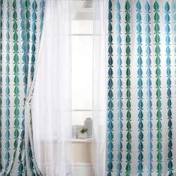 Атлас для штор вишивка хвилі краплі блакитні, сині, зелені на білому тлі, ш.147