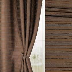 Фукра смужки коричневі на коричневому тлі, ш.140