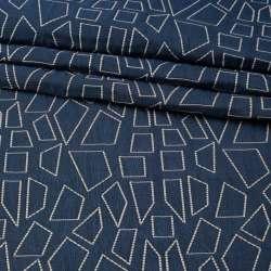 Стьобана тканина інтер'єрна чотирикутники білі на синьому тлі (фіолетовий виворіт), ш.135