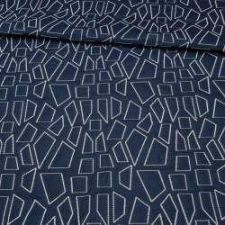 Стьобана тканина інтер'єрна чотирикутники білі на синьому тлі (синій виворіт), ш.135