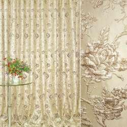 Жаккард портьєрний бежевий світлий з коричневими трояндами ш.280