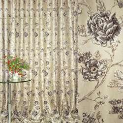 Жаккард портьєрний бежевий світлий з темно-коричневими трояндами ш.280