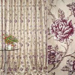 Жаккард портьєрний бежевий світлий з вишневими трояндами ш.280