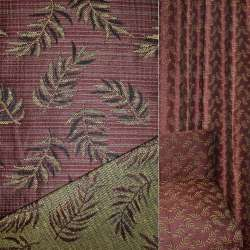 Гобелен оббивний темно-червоний з листям, ш.150