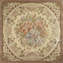 Заготовка для наволочки парча цветы в круге с вензелем 50х50 см бежево-оливковая