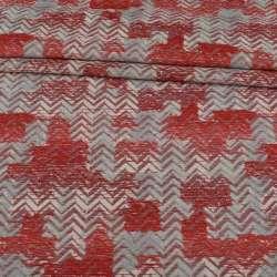 Шенілл жакард меблевий зигзаг червоно-сірий на молочному тлі, ш.136