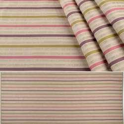 Жакард меблевий смужки рожеві, фіолетові, гірчичні на піщаному тлі, ш.140