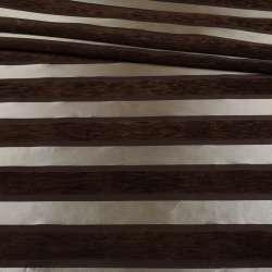 Шенілл меблевий смужки шовкові сріблясті на коричневому тлі, ш.143