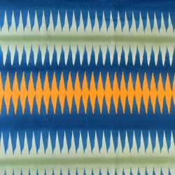 Тканина скатеркова в синю, зелену, оранжеву смужку-зигзаг, ш.150