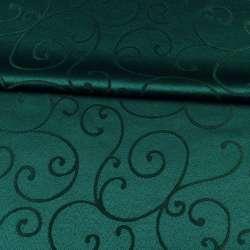 Жаккард скатерковий завитки зелений темний, ш.320