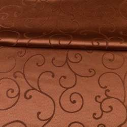Жаккард скатерковий завитки коричневий, ш.320