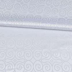 Жаккард скатерковий круглі завитки білий, ш.320