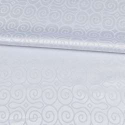 Жаккард скатертный круглые завитки белый, ш.320