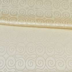 Жаккард скатерковий круглі завитки кремовий, ш.320