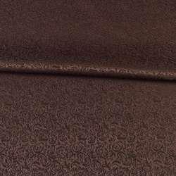 Жаккард скатерковий дрібні квітки коричневий, ш.320